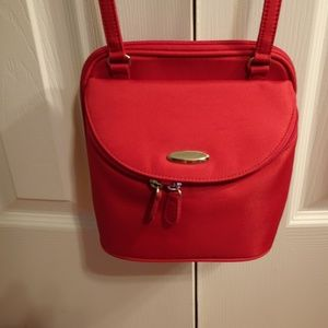 Red Polyester Adjustable Crossbody Travel Bag